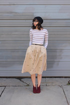 tan thrifted skirt - maroon Steve Madden boots - black Urban Outfitters hat