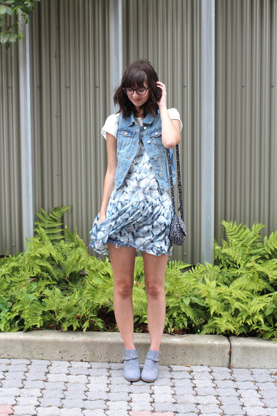 light blue Old Navy vest - heather gray modcloth boots - sky blue H&M dress
