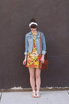 red vintage dress - sky blue H&M jacket - brown H&M bag