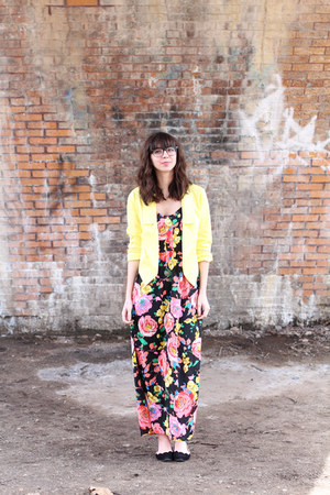 light yellow Forever21 blazer - bubble gum Buffalo Exchange dress