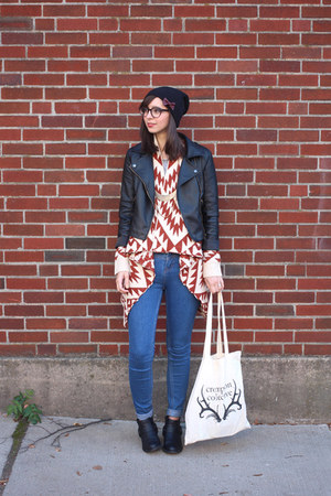 blue Urban Outfitters boots - black Forever 21 boots - black Sheinside jacket