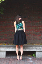 green American Apparel top - black H&M skirt - black Lulus wedges