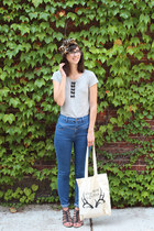 black shopHollyDolly necklace - blue Urban Outfitters jeans