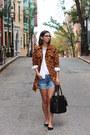 Brown-urban-outfitters-coat-white-loft-shirt-black-h-m-bag