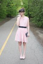 light pink Megan Nielsen Crescent pattern dress - light pink H&M wedges