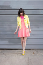 yellow shoemint heels - salmon Express dress - light yellow Forever21 blazer