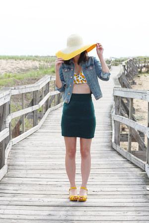 mustard Target hat - sky blue H&M jacket - ivory Topshop swimwear