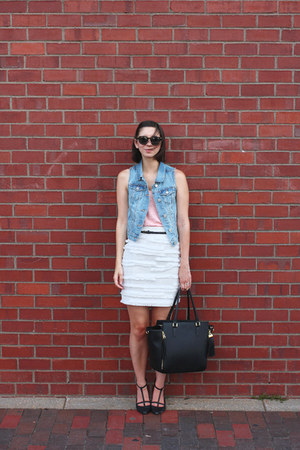 black H&M bag - light pink Urban Outfitters t-shirt - white H&M skirt