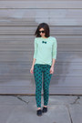 Black-lebunny-bleu-shoes-aquamarine-jcrew-sweater-teal-forever21-pants