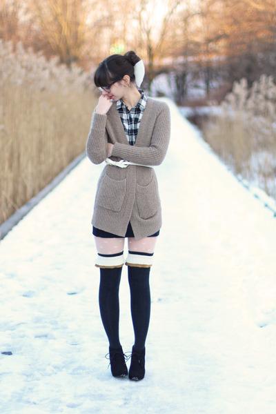 black Target boots - dark gray Anthropologie socks - tan H&M cardigan