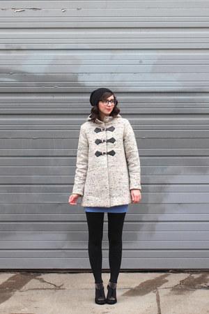 beige handmade coat - sky blue handmade skirt - black shoemint wedges