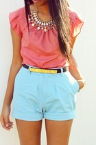 coral Forever21 blouse - aquamarine high top shorts Forever21 shorts