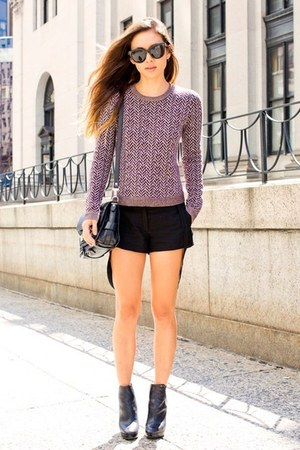 black Macys purse - light purple Target sweater - black Target shorts