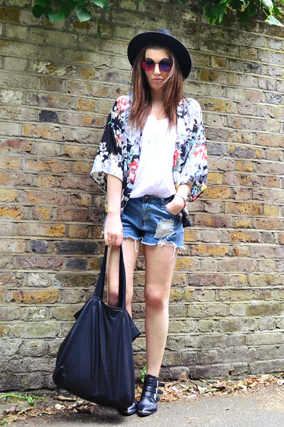 black kimono Primark jacket - sky blue denim Forever 21 shorts