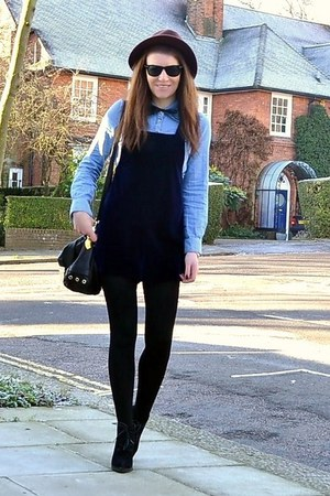 navy velvet Topshop romper - black suede Topshop boots