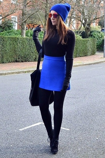 blue beanie Topshop hat - black cotton Primark tights