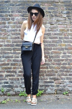 black box Zara bag - white crop Forever 21 top - black silky FF bodysuit