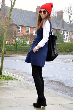 black suede Topshop boots - navy pinafore Topshop dress - red beanie Topshop hat