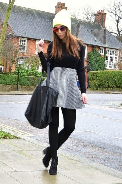 heather gray cotton Topshop skirt - yellow beanie Topshop hat