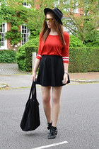 red cotton Primark top - black fedora H&M hat - gold mirrored Topshop sunglasses