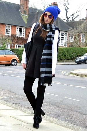 black suede Topshop boots - black mini H&amp;M dress - blue beanie Topshop hat