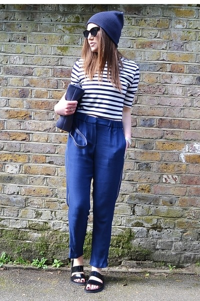 black cat eye asos sunglasses - white striped H&M top - navy loose Zara pants