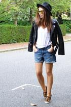black faux leather Zara jacket - mustard animal print Gap shoes