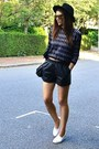 Black-faux-leather-topshop-shorts-gold-mirrored-topshop-sunglasses