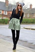 lime green mini Topshop skirt - black suede Topshop boots