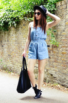 light blue cotton Topshop romper - black fedora H&M hat