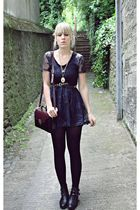 blue Primark dress - black gifted shoes - black vintage purse