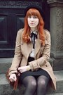 Brown-primark-bag-beige-h-m-coat-black-h-m-hat-ivory-primark-blouse