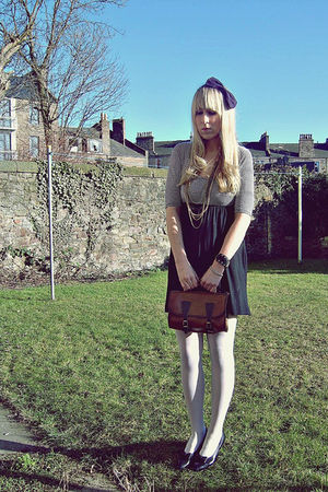 black thrifted dress - black thrifted shoes - brown vintage purse - purple Dorot