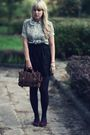 Thrifted-blouse-black-orsay-skirt-brown-primark-bag-thrifted-shoes