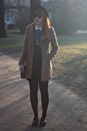 navy Primark blouse - light brown F&amp;F coat - black H&amp;M skirt
