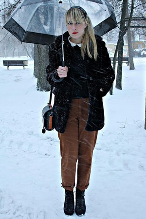 black Marks &amp; Spencer coat - burnt orange thrifted pants - black fleqpl shoes