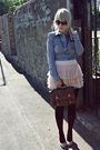 Pink-h-m-skirt-blue-butykcouk-shirt-beige-primark-shoes-brown-primark-purs