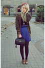 Brown-thrifted-vintage-cardigan-blue-thrifted-skirt-black-vintage-bag-bron
