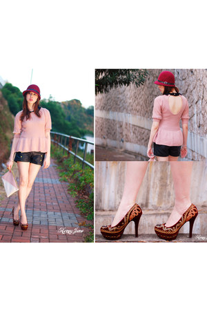 black leather Topshop shorts - ruby red hat - salmon top