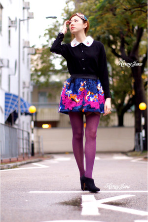 beret clip hat - random from Hong Kong dress - tights