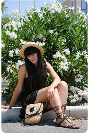 black Oysho dress - beige Oysho hat - beige vintage accessories - brown Zara bel
