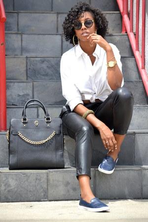 black Gregory Sylvia purse - black zeroUV sunglasses - white Ralph Lauren top