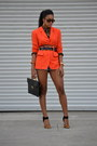 Carrot-orange-dkny-blazer-light-blue-reiss-shorts-tawny-steve-madden-heels
