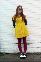 yellow shirt H&M dress - white Vans sneakers