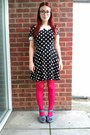 Black-polka-dot-new-look-dress-hot-pink-h-m-tights-teal-asda-wedges