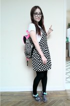 black Primark dress - silver jelly JuJu Footwear shoes - hot pink Primark bag