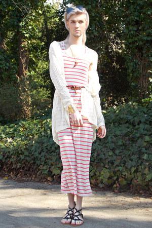 gold House Of Alexzander bracelet - peach coral stripes thrift dress