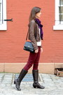 Crimson-oxblood-zara-jeans-dark-brown-born-on-concept-boots