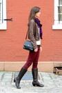 Crimson-oxblood-zara-jeans-dark-brown-born-on-concept-boots