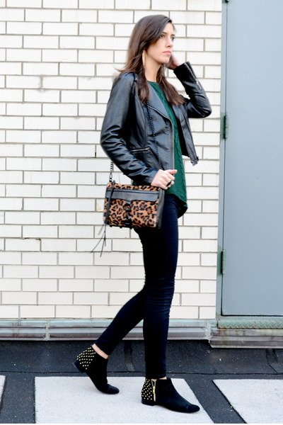 forest green knit Zara sweater - black studded Topshop boots